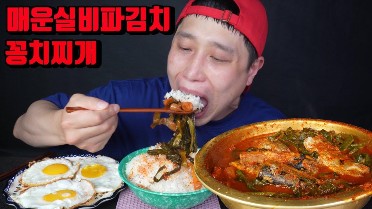 매운 실비파김치 꽁치찌개 매운음식먹방 korean spicy kimchi fish soup mukbang eating show
