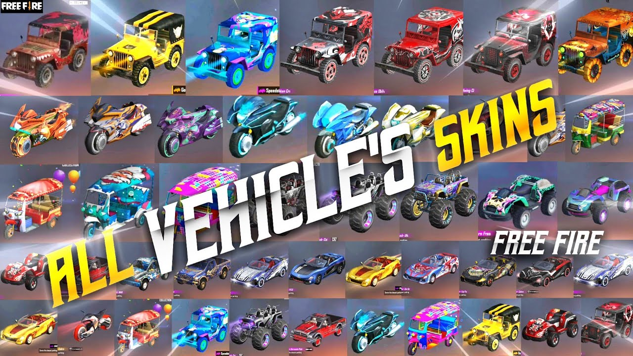 ALL VEHICLE SKINS FREE FIRE || ALL VEHICLE'S TOP-UP EVENTS || FREE FIRE ALL VEHICLES || TSK