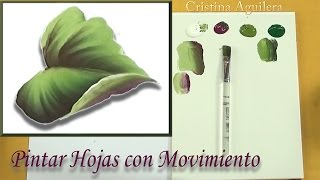 Pintar hojas con movimiento One Stroke por Cristina Aguilera