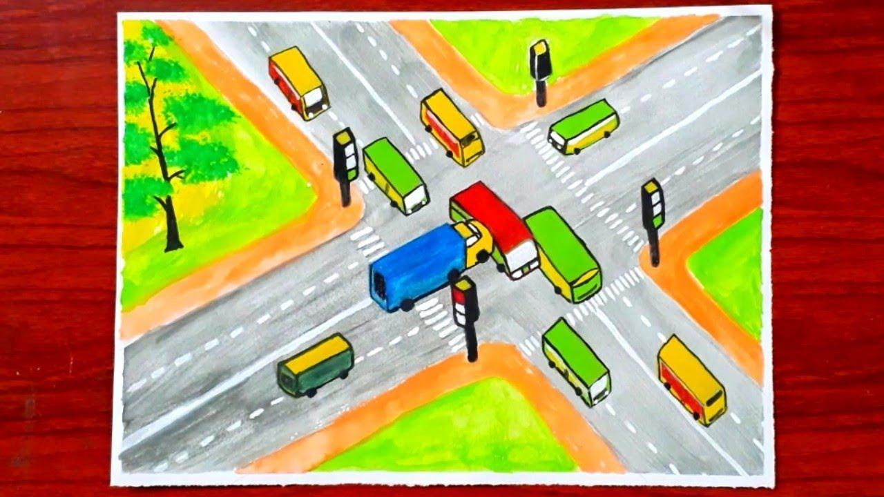 Vẽ tranh an toàn giao thông -P7 – vẽ xe ô tô tải vượt đèn đỏ gây tai nạn