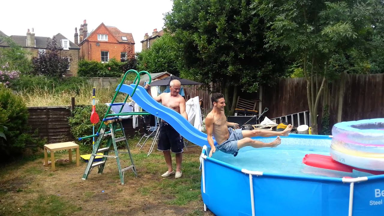 Kids Pools With Slides home made water slide for big kids - youtube