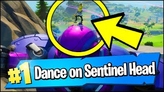 Dance on top of different SENTINEL HEADS at the Sentinel Graveyard Location (Fortnite)