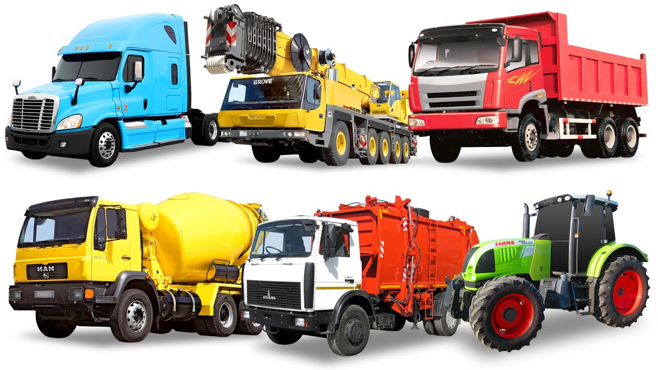 street vehicles names for kids cars and trucks garbage truck dump truck tractor truck youtube. Black Bedroom Furniture Sets. Home Design Ideas