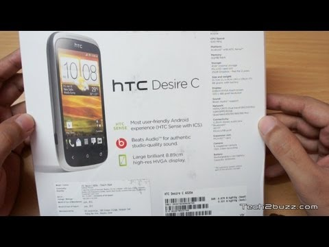 HTC Desire C Unboxing & first boot
