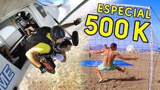 RETO 500K: SALTO PARACAÍDAS + PENALTIS FÚTBOL PLAYA