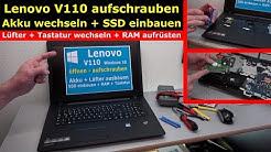 Lenovo V110 Notebook öffnen - Akku SSD Lüfter Tastatur wechseln - [4K Video]