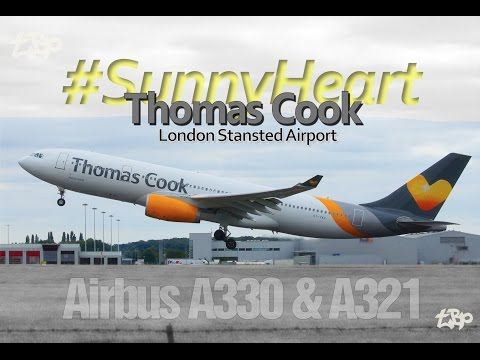 Thomas Cook Airlines Airbus A330, A321 Planes London Stansted Airport Takeoff & Landing
