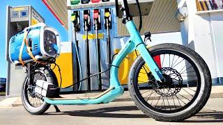 PATINETE HIBRIDO CASERO (200Km/L) Motor de Gasolina y Motor Electrico a la vez