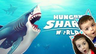 Эволюция Акул прохождение hungry shark world game мультик топ игра