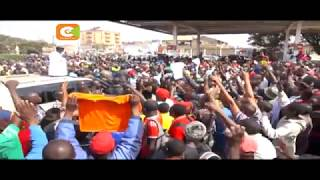 Raila driven to safety after chaotic mob disrupt his Thika rally