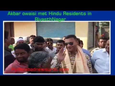 Hindus Residents Welcomes Akbar owaisi in Riyasath Nagar