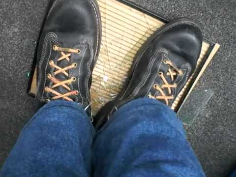 Danner Rainforest boot crunch on a picture frame - YouTube