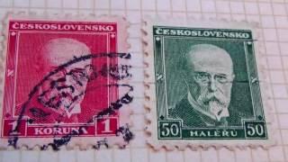 Old Ceskoslovensko Haler Postage Stamps