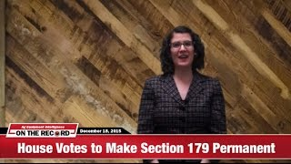 On The Record: U.S. House Votes to Make Section 179 $500,000 Levels Permanent