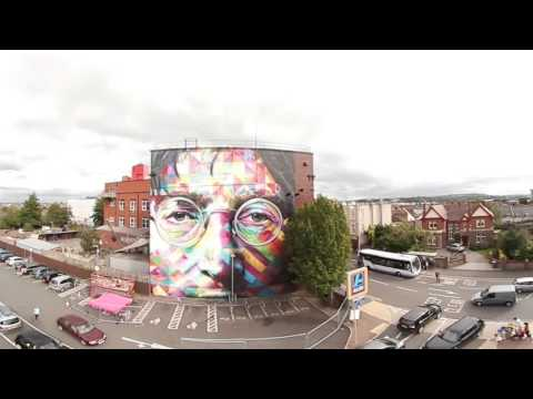 360 view of Representation of Eduardo Kobra work at Upfest by assistant in Bristol UK