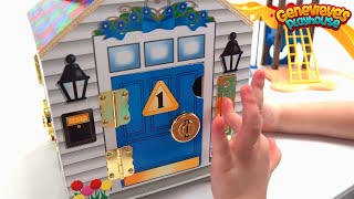 Genevieve Plays with Locking Wooden Dollhouse!