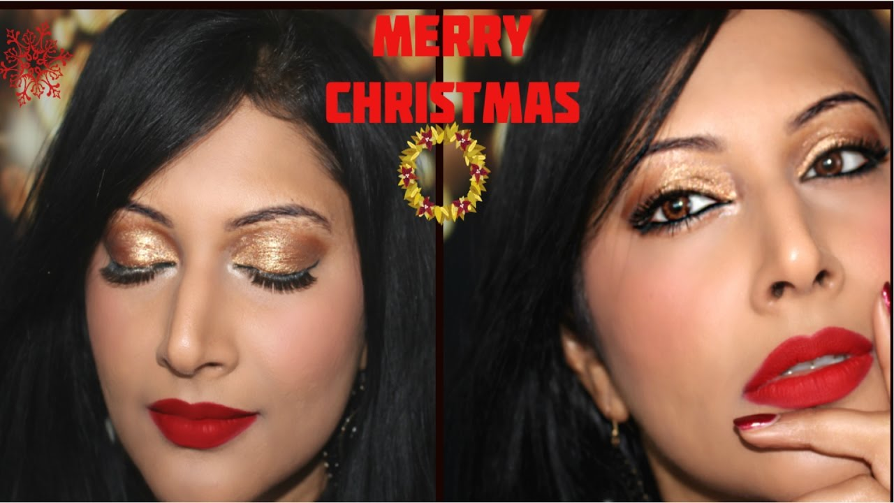CHRISTMAS PARTY MAKEUP TUTORIAL FOR BROWN / OLIVE/ INDIAN SKIN - YouTube