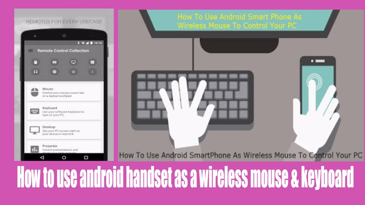 How to use android handset as wireless mouse & wifi keyboard | laptop| PC |  Computer in hindi urdu