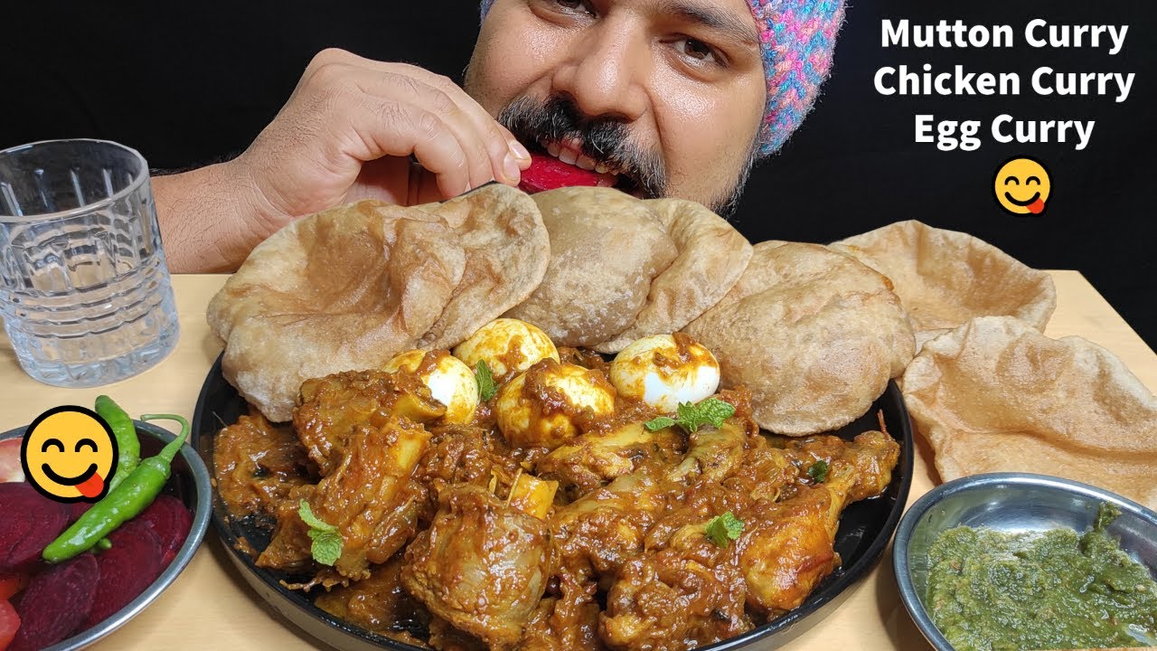 CHICKEN CURRY, MUTTON CURRY, EGG CURRY & PURI EATING   Chicken Curry & Puri   Indian Food Mukbang