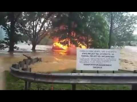 House burning while going down flood waters White Sulfur Springs WV