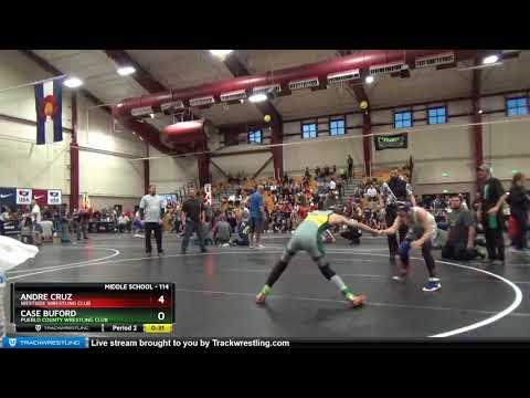 Middle School 114 Andre Cruz Westside Wrestling Club Vs Case Buford Pueblo County Wrestling Club