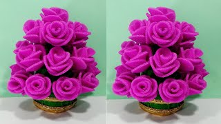 फोम के गुलाब का गुलदस्ता बनाने का आसान  तरीका /DIY FOAM SHEET ROSE FLOWER GULDASTA/PLASTIC BOTTLE