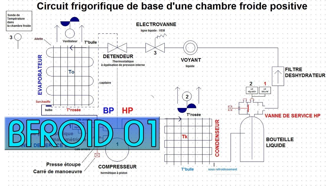 BFroid01Le circuit frigorifique dans une chambre froide positiveexplications  YouTube