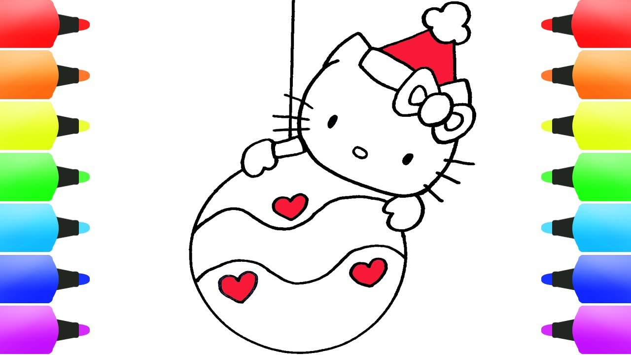CUTE Hello Kitty CHRISTMAS Drawings | GLITTER Hello Kitty Christmas Balls