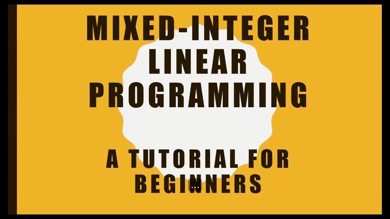 Mixed binary integer programming matlab - acciamelte's diary