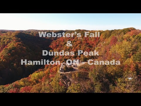 4K Drone View Of Webster's Fall & Dundas Peak, Hamilton, Ontario - Canada