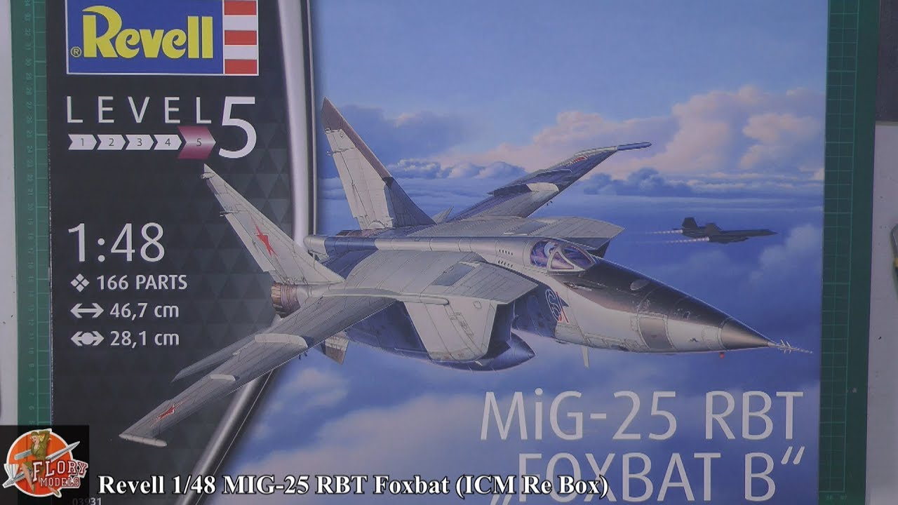 revell 1 48 mig 25 foxbox icm re box review youtube