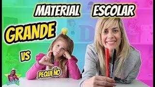MATERIAL ESCOLAR GRANDE VS PEQUEÑO CHALLENGE!! Útiles Escolares Vuelta al Cole Daniela Go