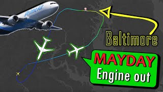 Prime Air B767 has ENGINE FAILURE AFTER DEPARTURE | Emergency Return to Baltimore