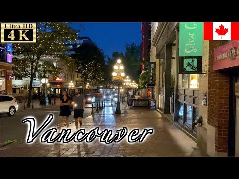 🇨🇦Vancouver Night Walk - Gastown -【4K 60fps】