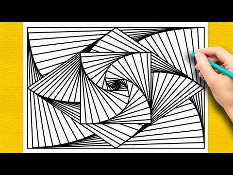 Easy Abstract Drawing | Overlapping 3D Line Illusion | Daily Art Therapy | ITTY BITTY KIDS ART