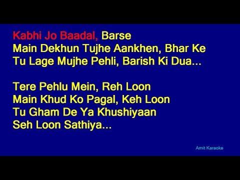 Kabhi Jo Badal Barse Arijit Singh Hindi Full Karaoke With Lyrics