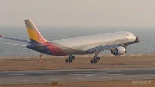 アシアナ航空 [ 韓国 ] エアバスA330-300 関西国際空港 ランウェイ24レ...