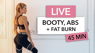 45 MIN BOOTY, ABS + FAT BURN -  intense combo for the ultimate burn I LIVE Workout I Pamela Reif