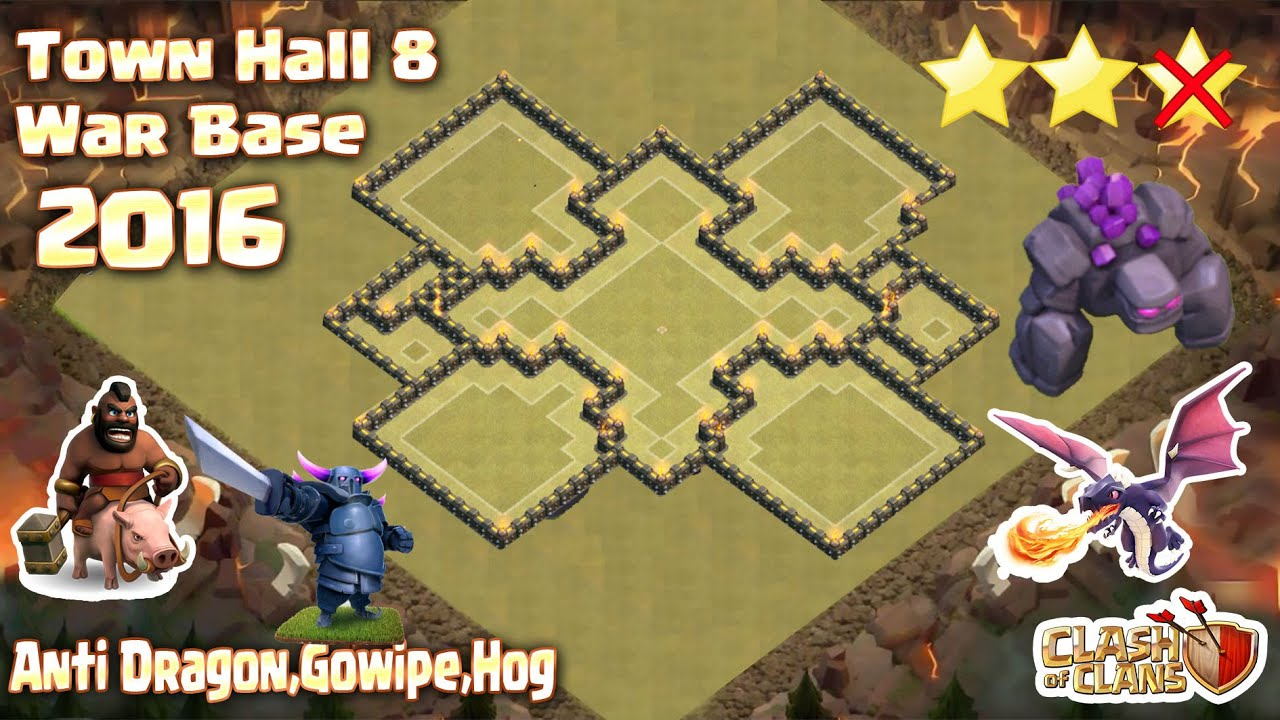 Clash Of Clans - Town Hall 8 (Th8) War Base ANTI Dragon ...