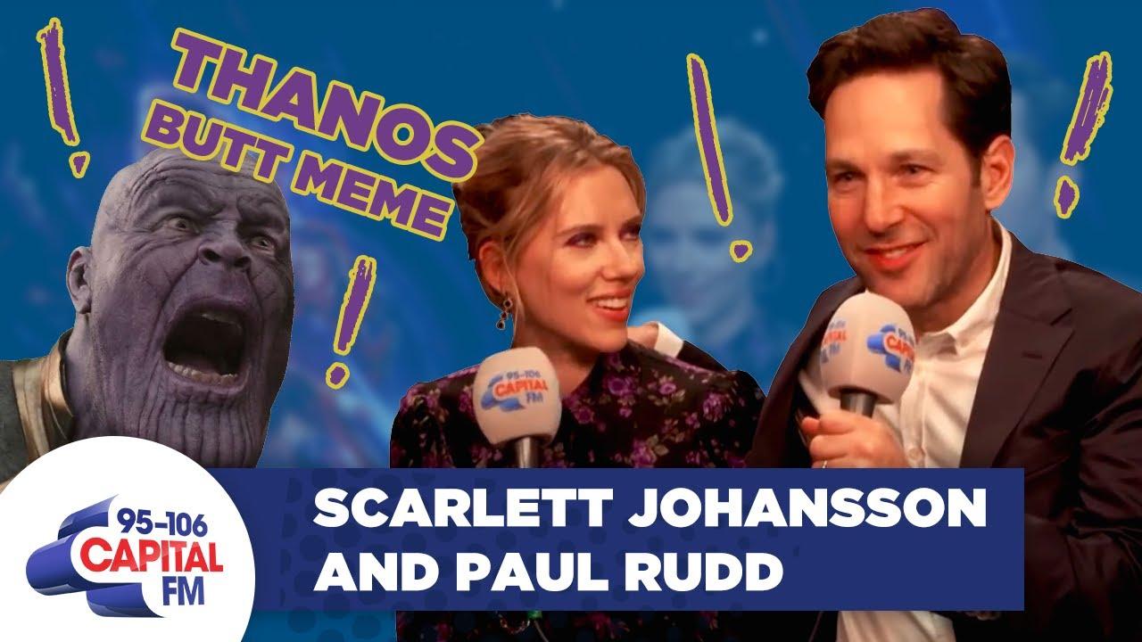 Paul Rudd Explains The Ant Man Thanos Butt Meme To Scarlett Johansson Full Interview Capital Youtube