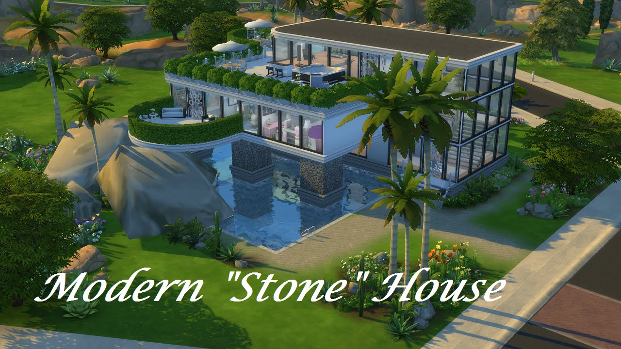 The Sims 4 Speed Build Modern Stone House ENG
