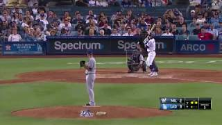 Kike Hernandez Suicide Squeeze vs Brewers | Dodgers vs Brewers