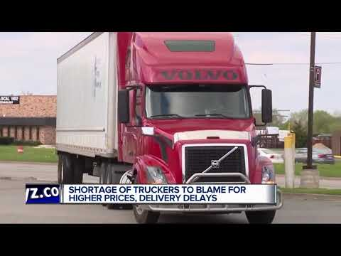 Prices of goods going up due to trucker shortage