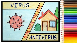 Coronavirus Prevention Poster Drawing | COVID 19 Awareness Poster Easy Drawing