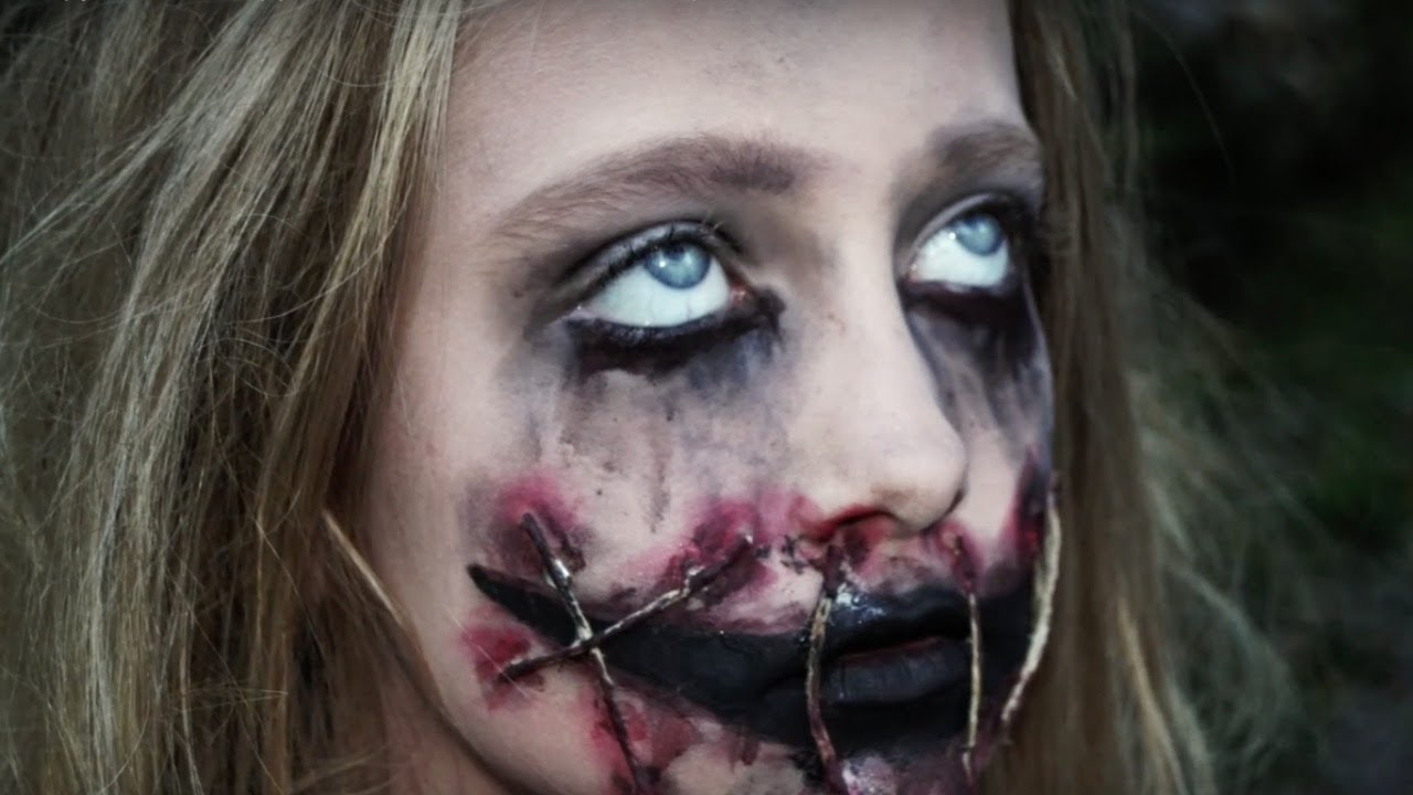 Creepy Girl With Ripped Mouth Halloween Makeup Tutorial / Natalie ...