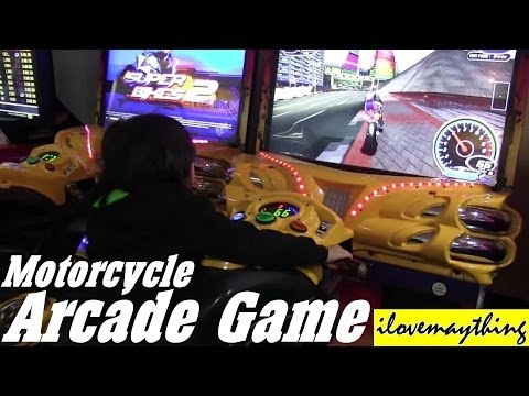 Arcade Games: Riding a Motorcycle Racing Game + A real Motorcycle