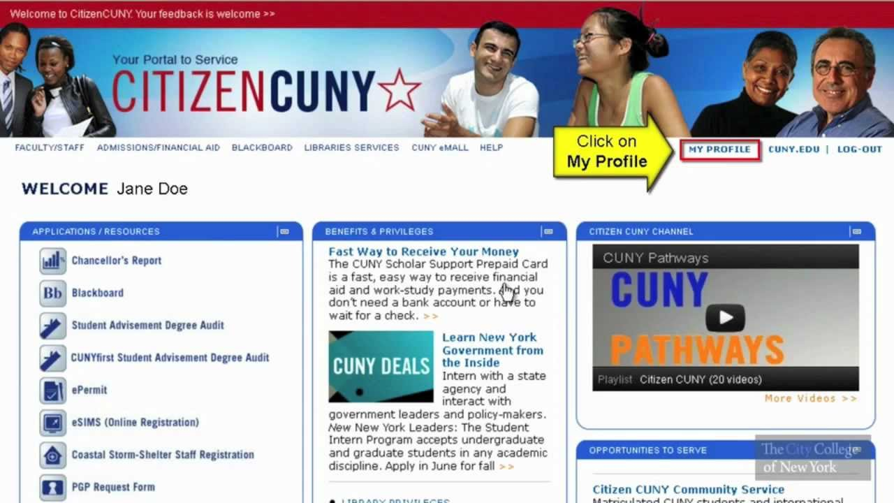 Cuny Portal How To Change Your Password Youtube