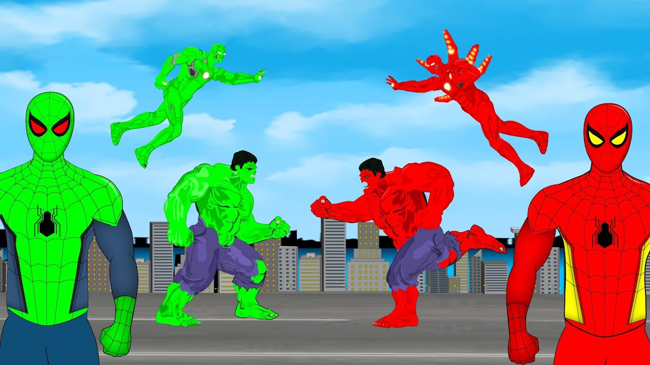 Download Red Hulk -Red Spiderman -Red Ironman VS Blue Hulk -Blue Spiderman -Blue Ironman |SUPER HEROES MOVIES