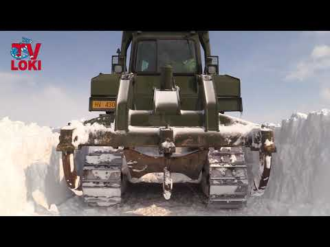 Caterpillar bulldozer of the Croatian Army in cleaning the snow
