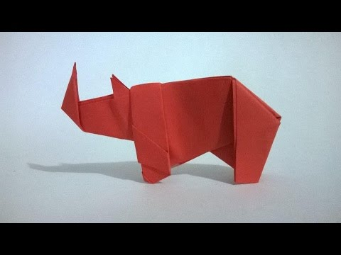 Papercraft ORIGAMI: RINOCERONTE DE PAPEL - origami paper Rhino
